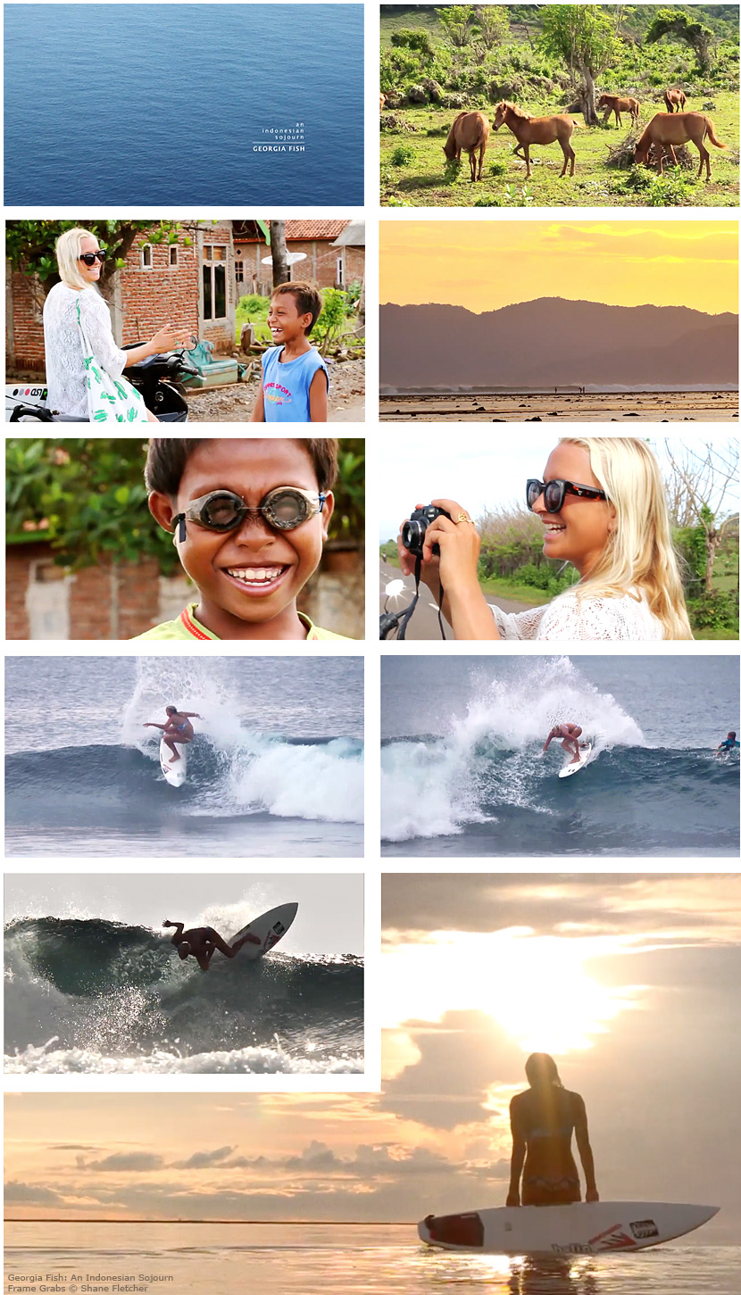 Frame grabs from Georgia Fish, An Indonesian Sojourn, a short surf film by Shane Fletcher.