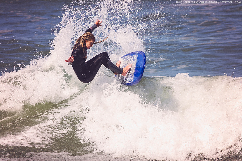 Prue Jeffries hooks a nice turn off the foam in Encinitas. Chris Grant photo on Jettygirl Online Surf Magazine.