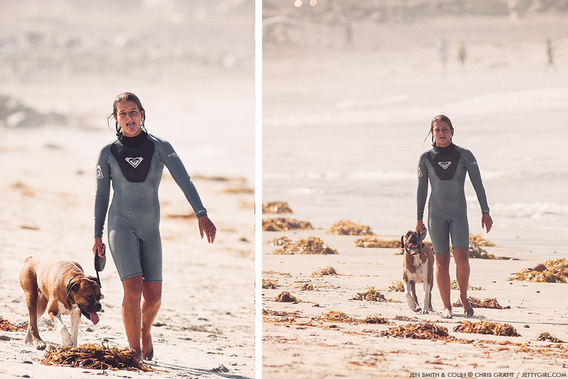Jen Smith and her dog, Colin. Chris Grant photos on Jettygirl Online Surf Magazine.
