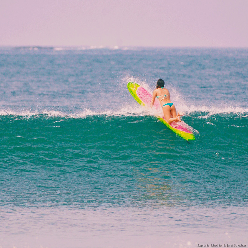 Stephanie Schechter scored some fun waves in Panama. Surf Photo Friday on Jettygirl. Photo © Janet Schechter photo.