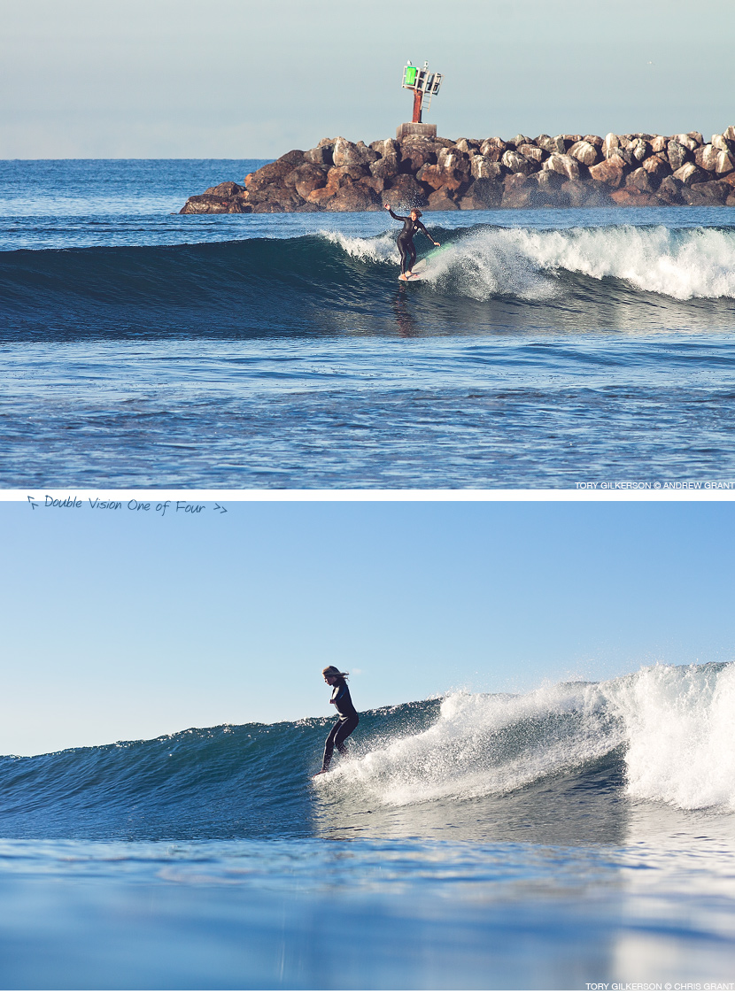 Tory Gilkerson backside noseride in Oceanside. Double vision 1 of 4. Andrew Grant and Chris Grant photos on Jettygirl Online Surf Magazine.