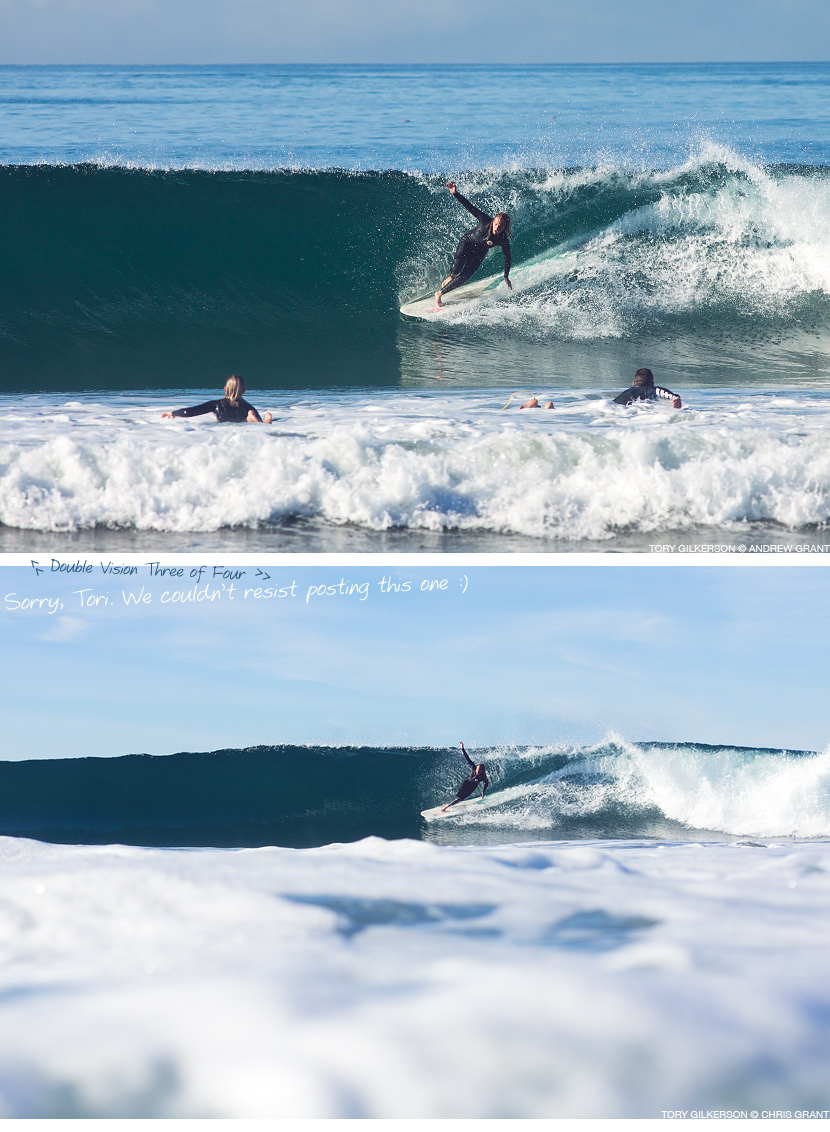 Tory Gilkerson wipes out in Oceanside. Double vision 3 of 4. Andrew Grant and Chris Grant photos on Jettygirl Online Surf Magazine.