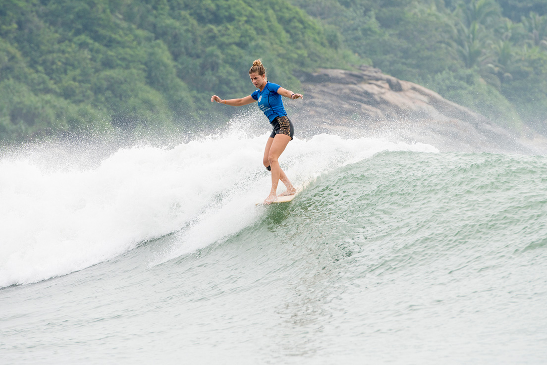 Lindsay Steinriede with her toes on the nose. Photo credit: ASP / Will H-S
