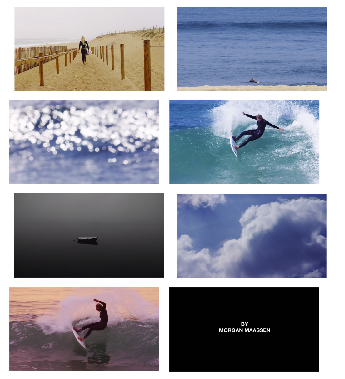 Frame grabs from Stephanie, a short film by Morgan Maassen starring Stephanie Gilmore