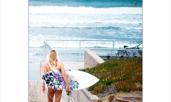 Chloe Buckley heads down to the beach with a Rusty surfboard under her arm. Chris Grant photo for Jettygirl Surf Magazine and Lifestyle Photo Blog.