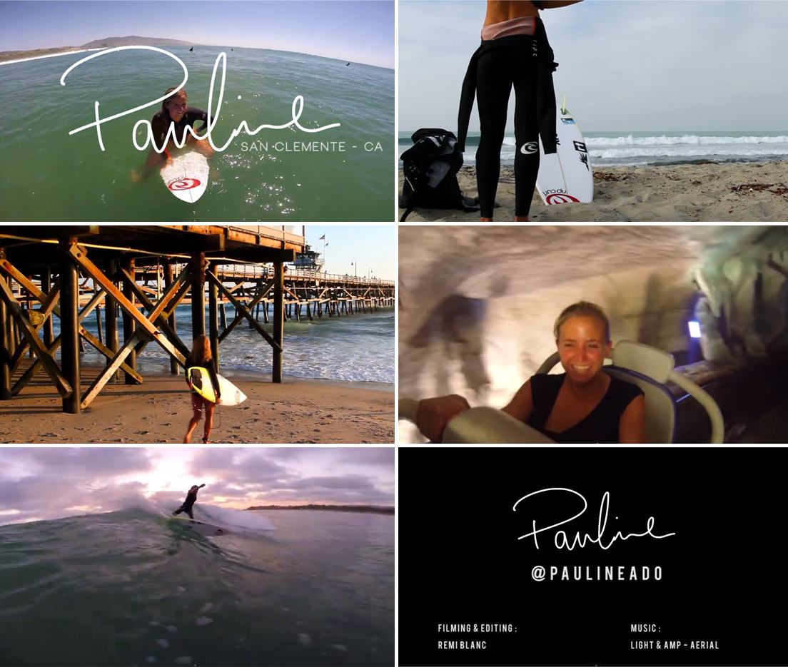Frame Grabs of Pauline Ado surfing in San Clemente over the summer