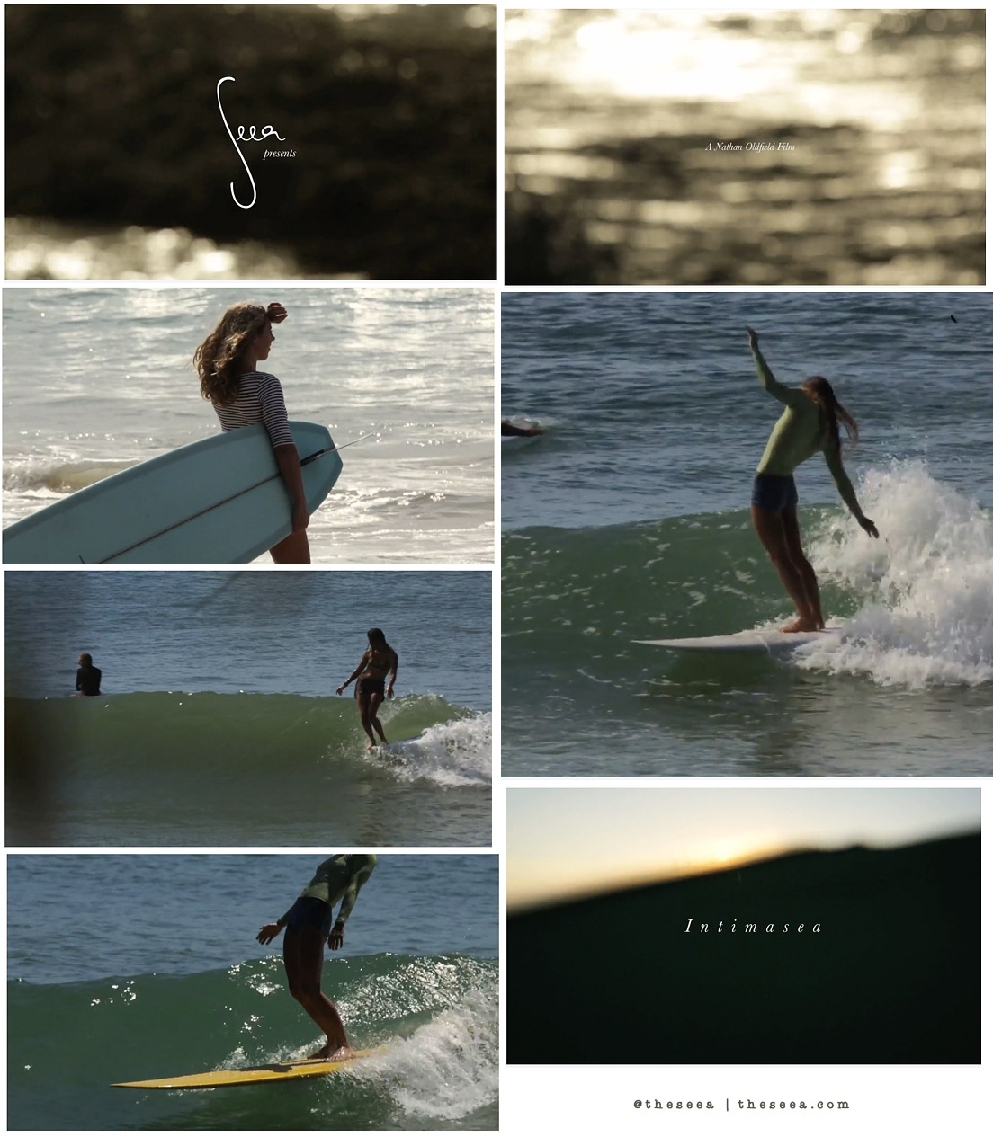 Frame grabs from Intimasea, a short surf film by Nathan Oldfield for Seea