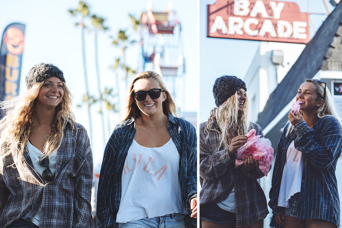 New Jersey surfers, Casey Kwiecinski and Kristen Acerra, enjoy the sights and tastes of the world famous, Balboa Fun Zone. Visit Newport Beach - Enriching in Every Sense. Photo by Chris Grant, JettyGirl Surf Magazine