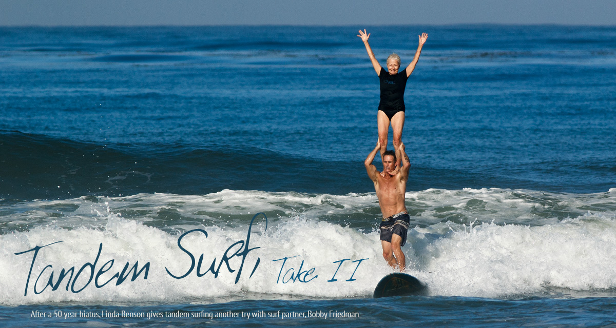 Linda Benson tandem surfs with Bobby Friedman at Cardiff Reef. Photo: Chris Grant for JettyGirl Online Surf Magazine