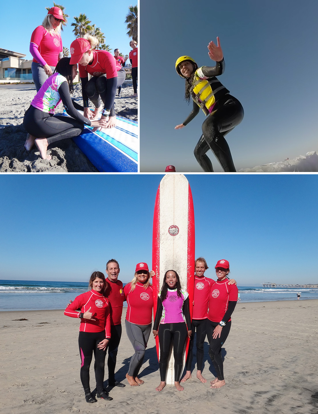 Haben Girma surfs with Surf Diva. Group photo of Haben and volunteers.