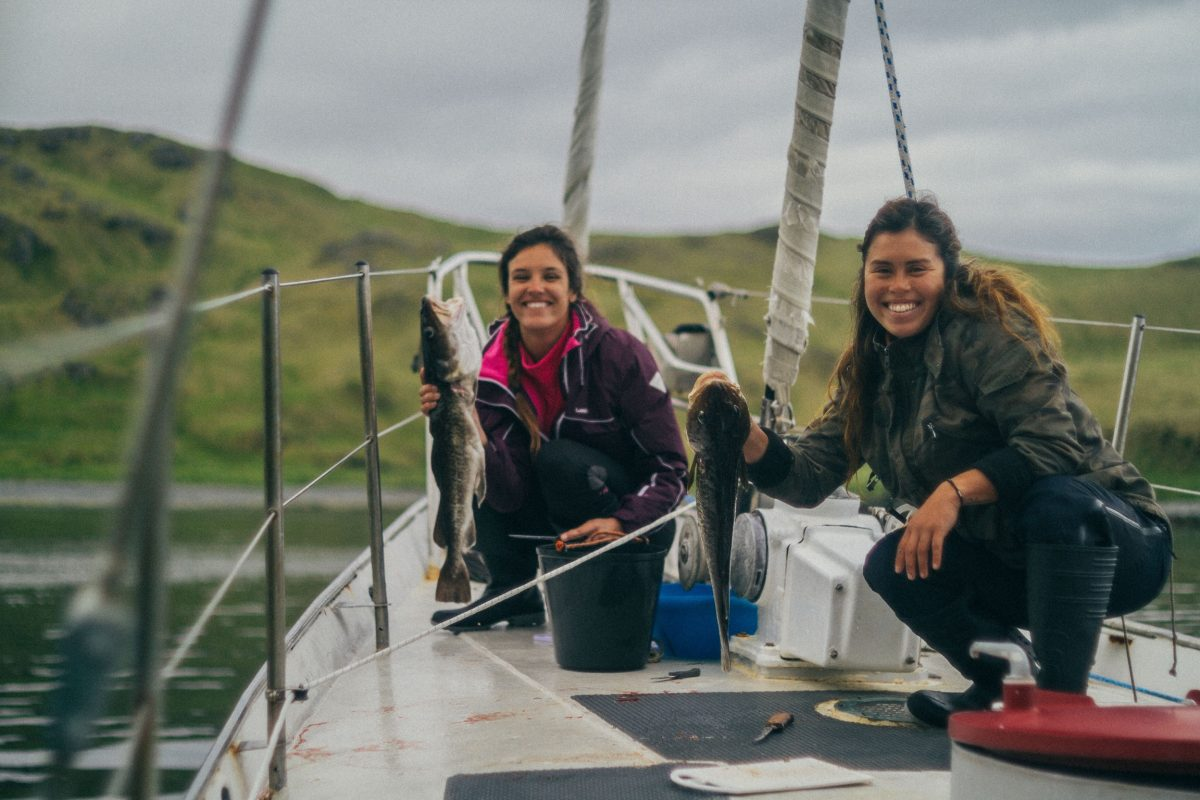 Aline and I fishing for dinner in the Aleutian Islands - Photo: Mickey Bernardoni