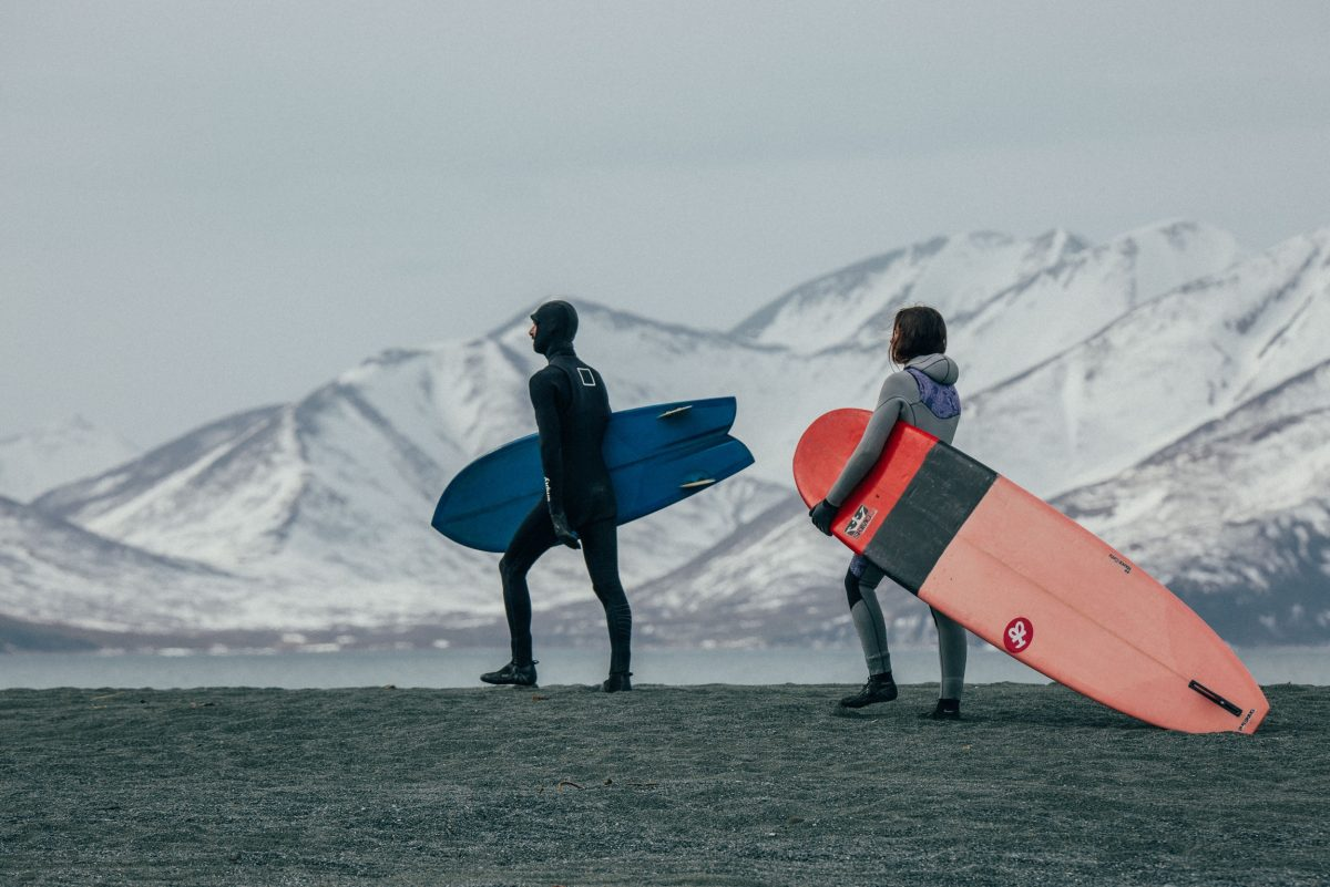 Mickey and I walking for another surf session in Kamchatka - Photo: Gavrilova