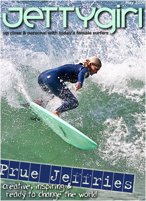 jettygirl cover of Prue Jeffries snapping backside in san diego county, surf photos by chris grant of boardfolio.com